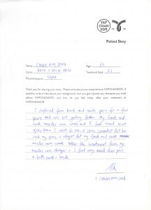 Testimonial for back pain neck pain from Mr Chuah for YAPCHANKOR